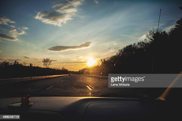 Sunset through the windshield