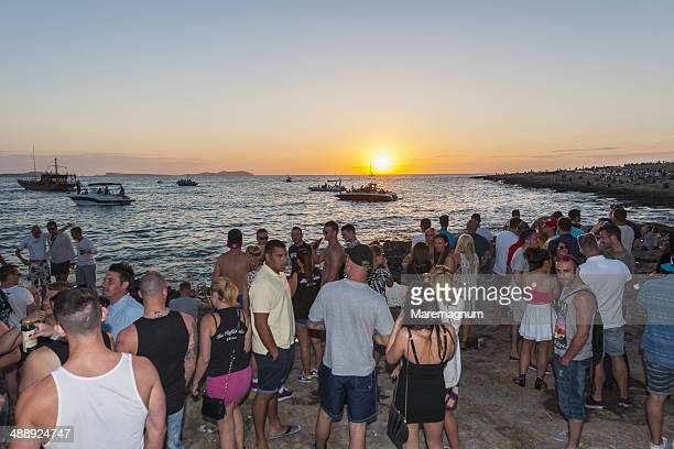 Sunset time along the promenade of café del Mar