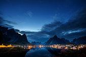 sunset time Reine Village, Lofoten Islands, Norway