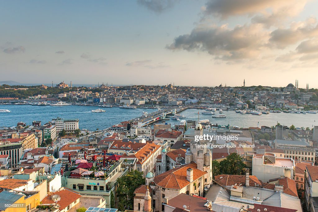 Sunset Time view form Galata tower, istanbul,
