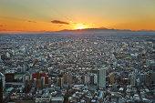 Sunset towards Mt Fuji