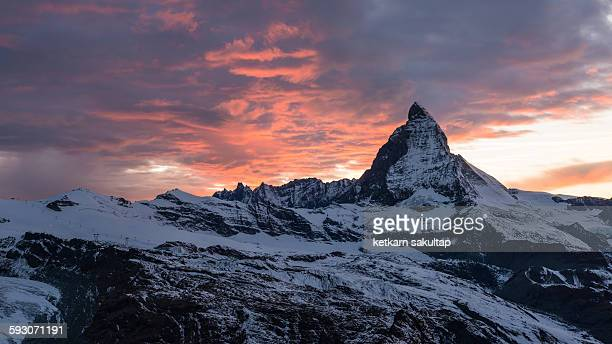 Sunset twilight at Matterhorn, Switzerland