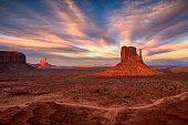 Beautiful view of amazing sandstone formations in famous sunset at Monument Valley, Arizona, USA