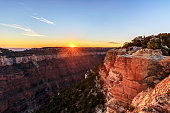 Sunset view from Bright Angel Point, North Rim, Grand Canyon National Park