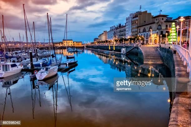 Sunset view of Gijon old Port, Asturias, Spain