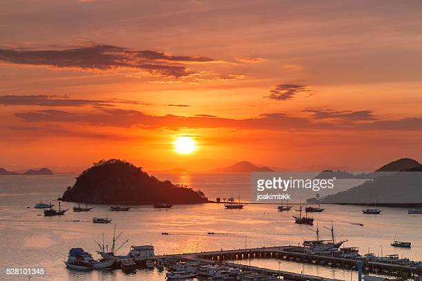 Sunset view of Labuan Bajo port in Flores, Indonesia