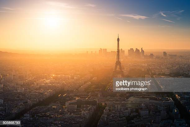 Sunset view of Paris from Montparnasse