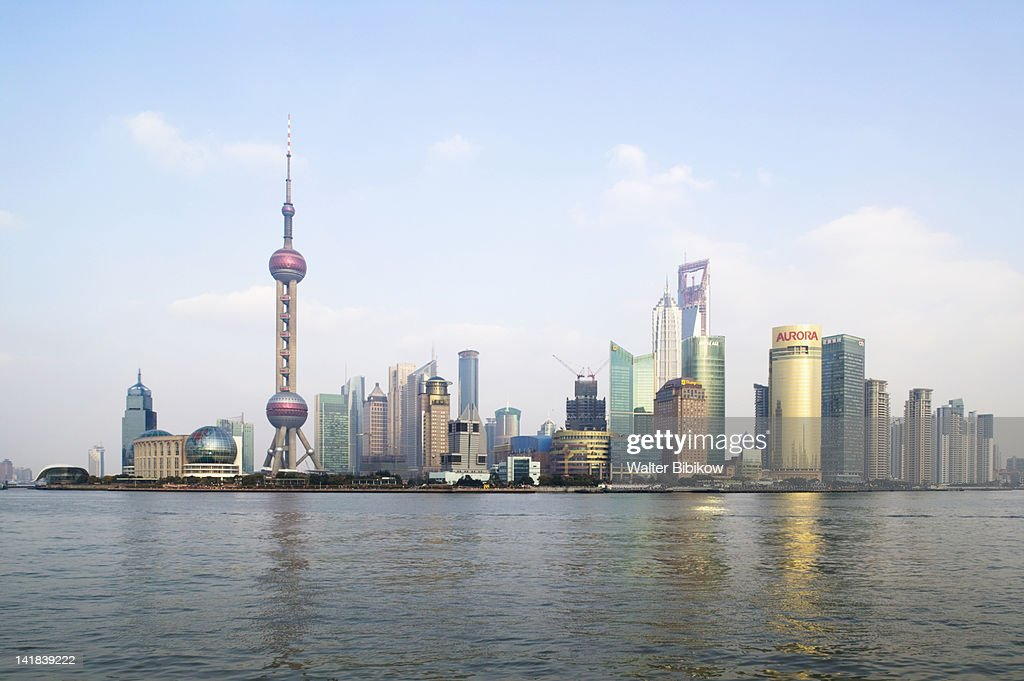 Sunset view of Pudong, Shanghai City, China : Stock Photo