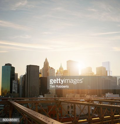 Sunset view of the Financial District in New York.