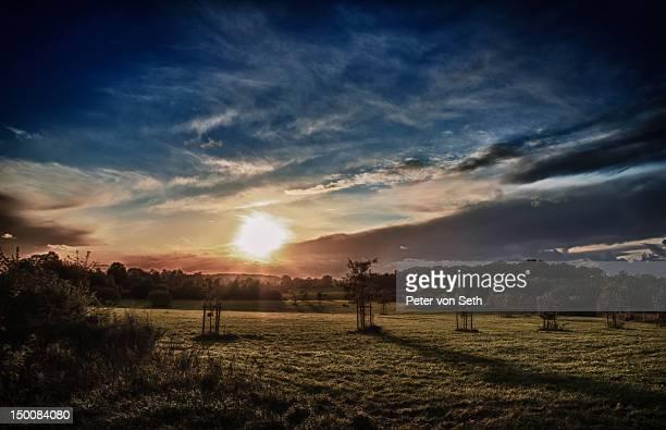 Sunset with beam of light