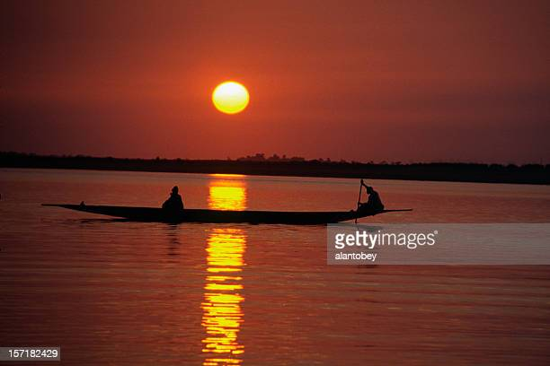 Sunset with Canoe on the Niger River