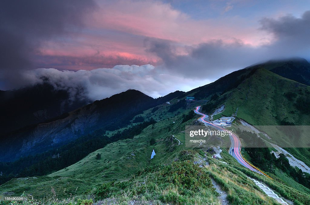 Sunset with Car Light Trail at Mt. Hehuan : Stock Photo