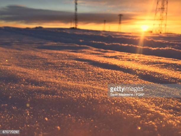 Sunset with dramatic sky in winter