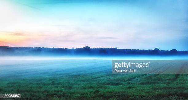 Sunset with evening mist