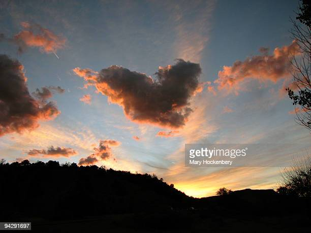Sunset with heart shaped cloud Dixon, NM