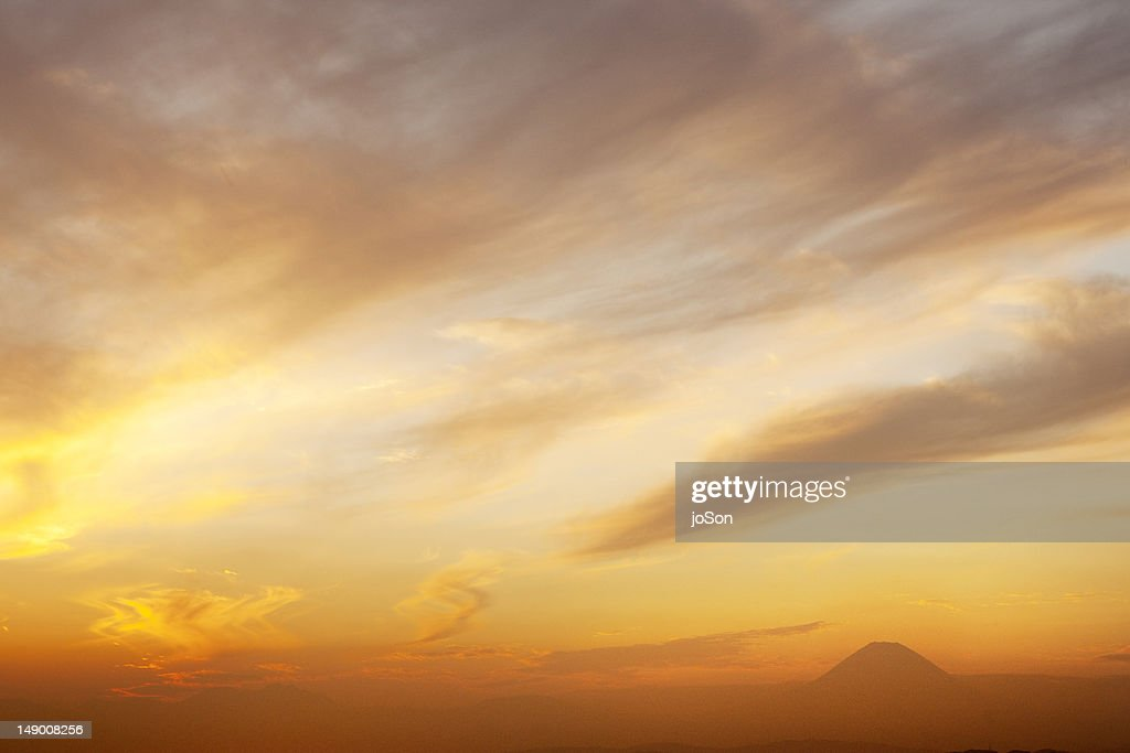 Sunset with Mt. Fugi in the distant : Stock Photo