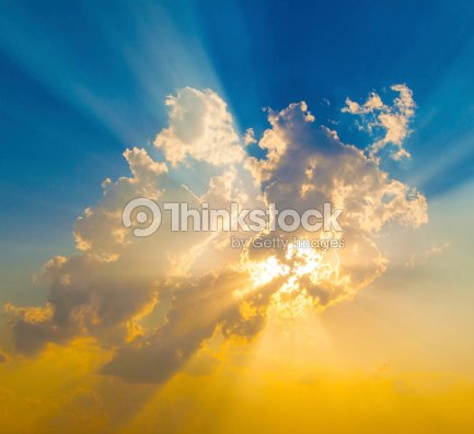 Sunset with sun rays : Stock Photo