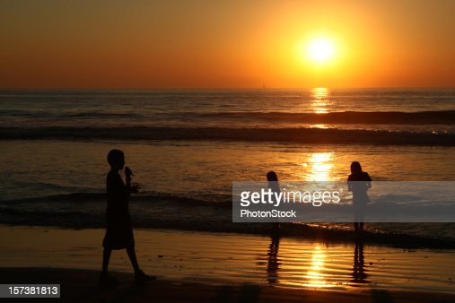 Sunset with the children who play game