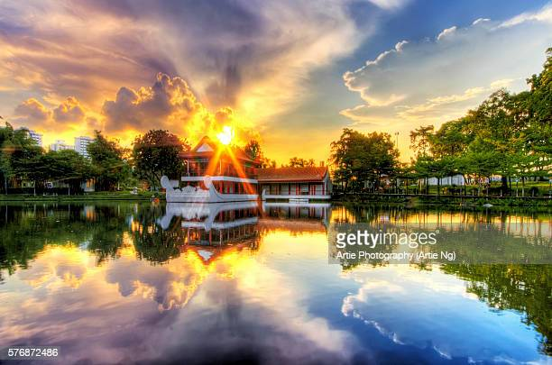 Sunset with the Traditional Style Stone Boat and Tea House in Singapore Chinese Garden, Singapore