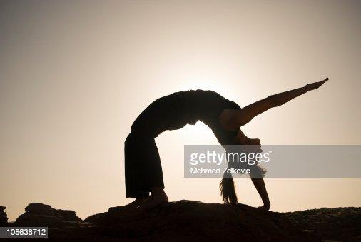 Sunset Yoga Wheel Pose
