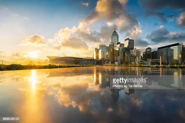 Sunshine at Central Hong Kong skyline at Victoria harbor, Hong Kong, China