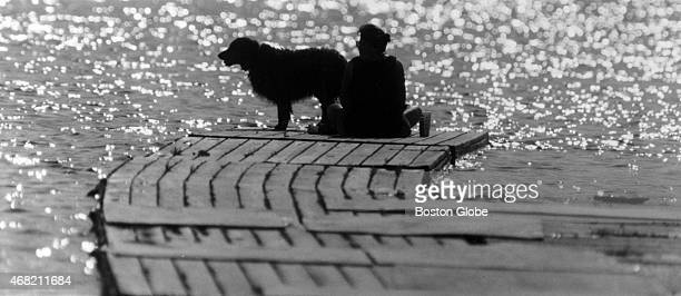 Sunshine glances off the water as a woman and her dog enjoy a balmy late spring afternoon on the dock used by the UMass Lowell crew team on the...