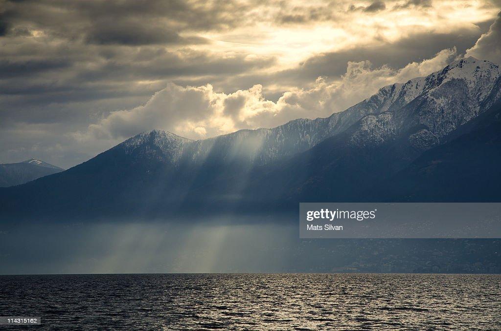 Sunshine over  Misty Lake Maggiore