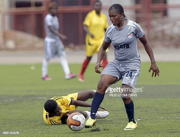 Sunshine Queens FC striker beats feeder team Rising Queens defender Mercy Owolanke during a warm up match at Akure Township Stadium Akure in Ondo...