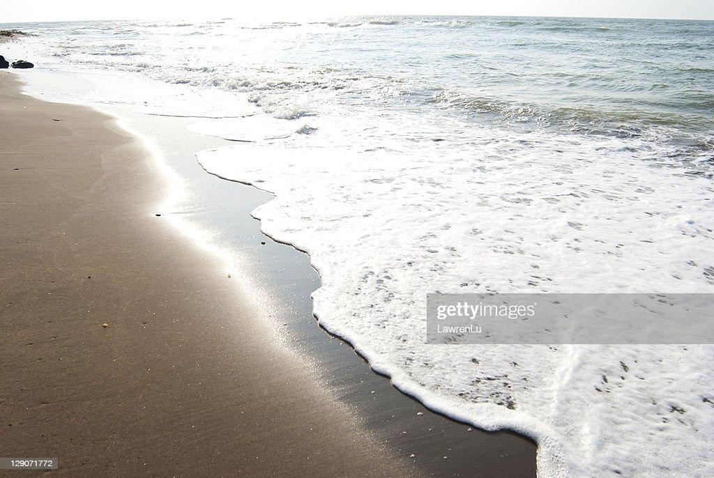 Sunshine reflect by sea waves : Stock Photo