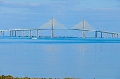 Sunshine Skyway bridge spanning over the beautiful Tampa Bay in sunny Florida