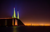 The Sunshine Skyway Bridge at night.  This bridge spans Tampa Bay and is one of the longest suspension bridges in North America.