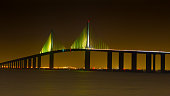The Sunshine Skyway Bridge connects St Petersburg Florida to Bradenton and Sarasota.  Its a multi-mile span that crosses Tampa Bay.