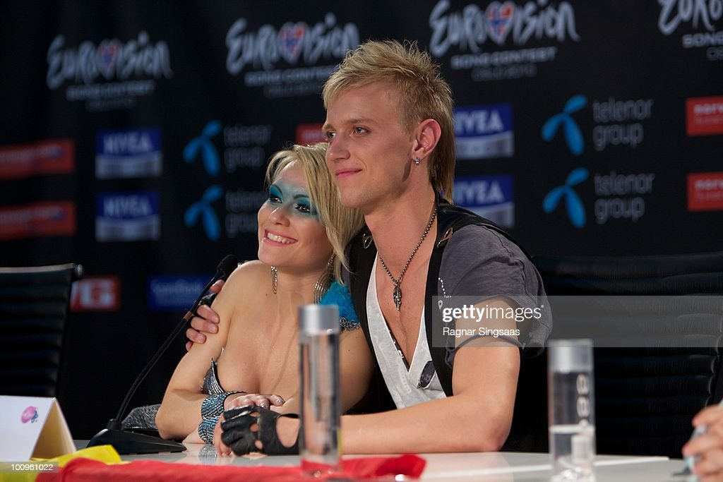 Sunstroke Project and Olia Tira of Moldova during a press conference after the first semi final at the Telenor Arena on May 25 2010 in Oslo Norway In...