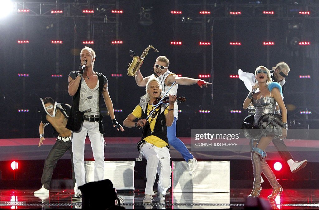 Sunstroke Project & Olia Tira from Moldova performs the song 'Run Away' during the semi-finals of the Eurovision Song Contest in Telenor Arena in Baerum, Norway, on May 25, 2010. The 55th Eurovision Song Contest finale will take place on May 29 in the Telenor Arena in Oslo, after Norwegian Alexander Rydbak took the top prize in Moscow last year with his song 'Fairytale'. AFP PHOTO/NORWAY/Cornelius Poppe ==NORWAY