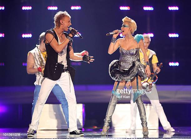 Sunstroke Project Olia Tira of Moldova perform their song 'Run Away' during the Grand Final of the Eurovision Song Contest 2010 on May 29 2010 in...