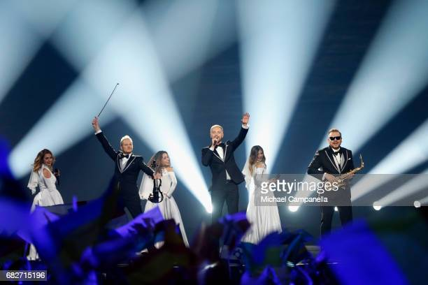 Sunstroke Project representing Moldova perform the song 'Hey Mamma' during the final of the 62nd Eurovision Song Contest at International Exhibition...