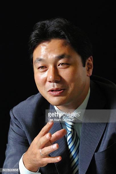 Suntory Sungoliath Head Coach Katsuyuki Kiyomiya speaks during the Asahi Shimbun interview on July 5 2006 in Tokyo Japan