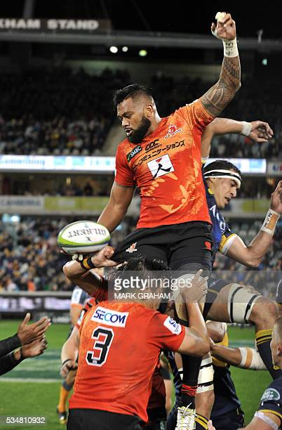 Sunwolves' Fa'atiga Lemalu gets the ball away during the Super Rugby match between Australia's ACT Brumbies and Japan's Sunwolves in Canberra on May...