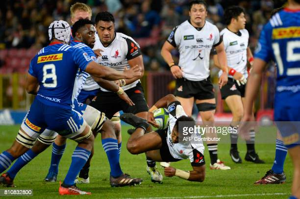 Sunwolves' Japanese Kotaro Matsushima stumbles during the Super Rugby rugby union match between Stormers and Sunwolves at Newlands Stadium in Cape...