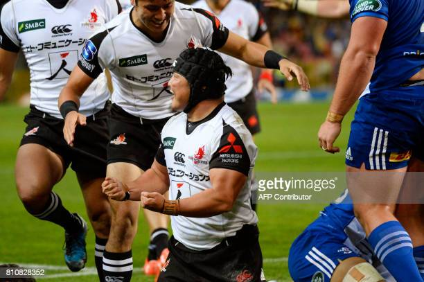 Sunwolves' Japanese Takeshi Hino celebrates a try during the Super Rugby rugby union match between Stormers and Sunwolves at Newlands Stadium in Cape...