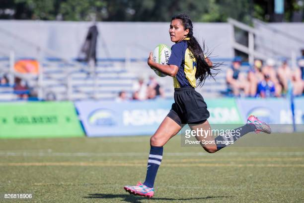 Supaporn Naksuwan of Thailand runs for a try during the Asia Rugby U20 Sevens 2017 at King's Park Sports Ground on August 5 2017 in Hong Kong Hong...
