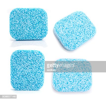 super absorbent cellulose blue sponge : Stock Photo