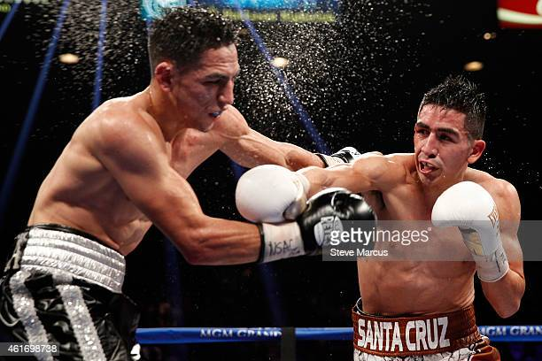 WBC super bantamweight champion Leo Santa Cruz connects on Jesus Ruiz during their title fight at the MGM Grand Garden Arena on January 17 2015 in...