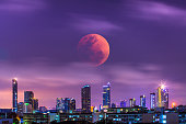 Super blue bloody moon on night sky at 31 January 2018