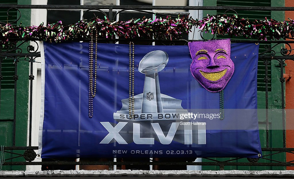 A Super Bolw flag is seen on Bourbon Street prior to the start of Super Bowl XLVII at Mercedes-Benz Superdome on January 29, 2013 in New Orleans, Louisiana.