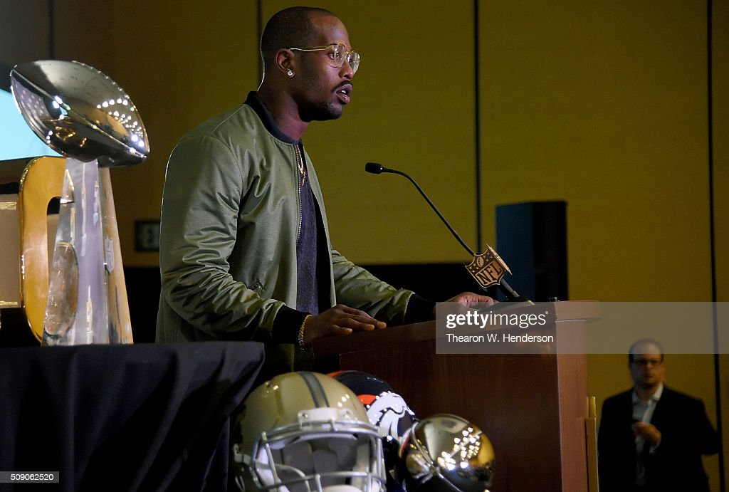 Super Bowl 50 MVP <a gi-track='captionPersonalityLinkClicked' href=/galleries/search?phrase=Von+Miller&family=editorial&specificpeople=7125735 ng-click='$event.stopPropagation()'>Von Miller</a> #58 of the Denver Broncos addresses the media during the trophy presentation at the Moscone Center West on February 8, 2016 in San Francisco, California.
