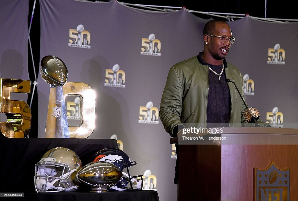 Super Bowl 50 MVP Von Miller #58 of the Denver Broncos addresses the media during the trophy presentation at the Moscone Center West on February 8, 2016 in San Francisco, California.