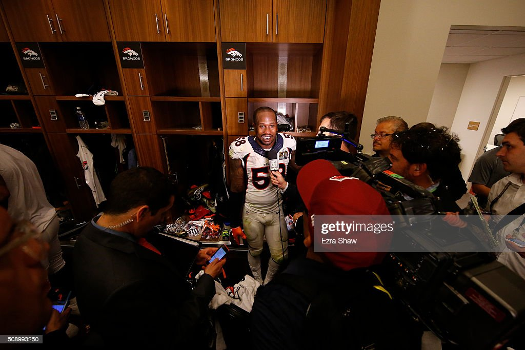 Super Bowl 50 MVP <a gi-track='captionPersonalityLinkClicked' href=/galleries/search?phrase=Von+Miller&family=editorial&specificpeople=7125735 ng-click='$event.stopPropagation()'>Von Miller</a> #58 of the Denver Broncos speaks to media in the locker room after defeating the Carolina Panthers during Super Bowl 50 at Levi's Stadium on February 7, 2016 in Santa Clara, California. The Broncos defeated the Panthers 24-10.
