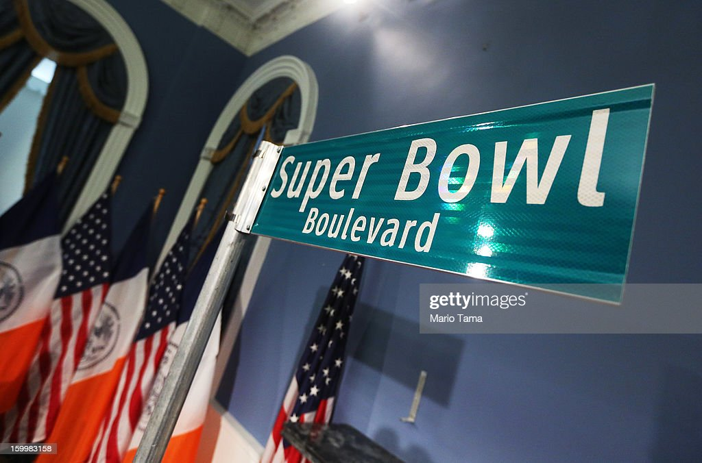 A 'Super Bowl Boulevard' sign stands after a City Hall press conference announcing plans for Super Bowl XLVIII in the region on January 24, 2012 in New York City. The New York/New Jersey region's first Super Bowl will see the creation of a 'Super Bowl Boulevard' fan attraction along Broadway in midtown Manhattan.
