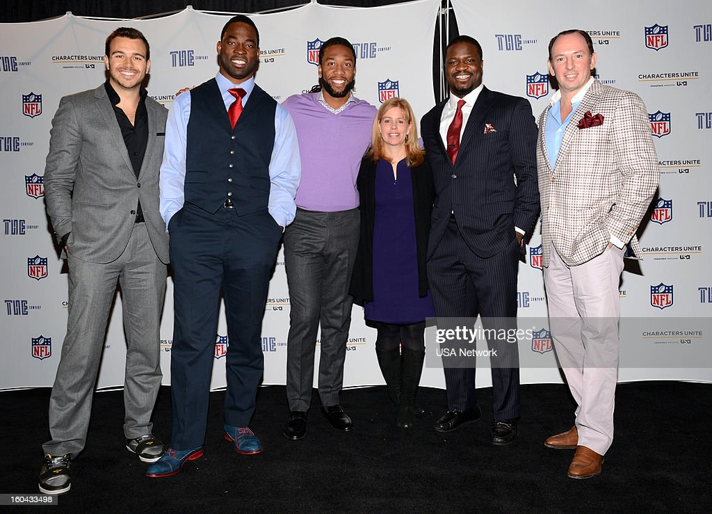 UNITE -- Super Bowl Press Conference -- Pictured: (l-r) Charlie Ebersol, Justin Tuck, Larry Fitzgerald, Toby Grath, Senior Vice President, Public Affairs, USA Network, Jameel McClain, Justin Hochberg --